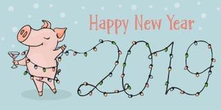 Nieuwe 2019, horizontale prentbriefkaar Chinees jaar van het varken Prentbriefkaar met grappige varken en Kerstmislichten stock foto's