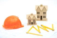 Nieuwe huizen op de blauwdruk Royalty-vrije Stock Foto's