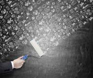 Nieuwe ideeën, die de muur schilderen Stock Afbeelding