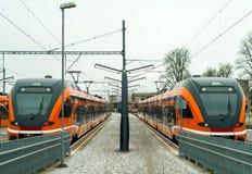 Nieuwe innovatieve moderne treinen Stock Foto's