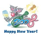 Nieuwe jaar 2008 rat, beeldverhaalpersonage Stock Foto's