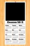 Nieuwe jaar 2012 kalender op houten raad Stock Afbeelding