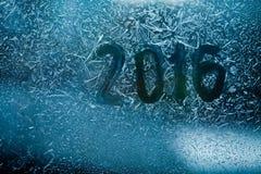 Nieuwe jaar abstracte kaart geschreven op een bevroren glas Royalty-vrije Stock Fotografie