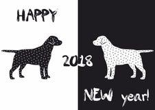Nieuwe jaar 2018 achtergrond met hond en sterren stock illustratie