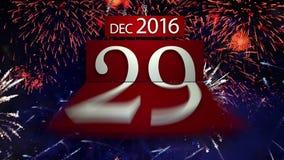 Nieuwe jaar 2017 Aftelprocedure met vuurwerk stock footage