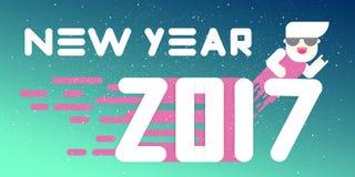Nieuwe jaar 2017 banner Vlak Ontwerp Grote witte brieven Eenvoudige vormen Vector illustratie malplaatje voor kalender royalty-vrije stock fotografie