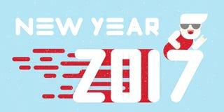 Nieuwe jaar 2017 banner Vlak Ontwerp Grote witte brieven Eenvoudige vormen Vector illustratie malplaatje voor kalender royalty-vrije stock afbeelding