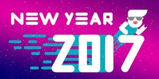 Nieuwe jaar 2017 banner Vlak Ontwerp Grote witte brieven Eenvoudige vormen Vector illustratie malplaatje voor kalender stock afbeeldingen