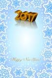 Nieuwe jaar 2017 blauwe achtergrond Stock Fotografie