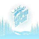 Nieuwe jaar blauwe het van letters voorzien en het springen herten op landschapsachtergrond Stock Foto's