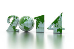 Nieuwe jaar 2014 bol op wit Royalty-vrije Stock Afbeeldingen