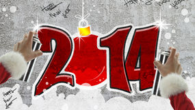 Nieuwe jaar 2014 graffiti Royalty-vrije Stock Afbeelding