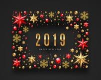 Nieuwe jaar 2019 illustratie Het kader van sterren, robijnrode gemmen wordt gemaakt, schittert gouden sneeuwvlokken en parels die vector illustratie