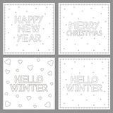 Nieuwe jaar, Kerstmis en de winterkaartreeksen Het kleuren paginareeks stock illustratie