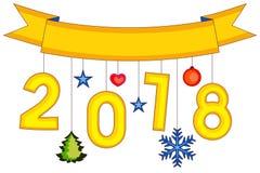 Nieuwe jaar kleurrijke affiche, lint, sneeuwvlokken en sterren Royalty-vrije Stock Afbeeldingen