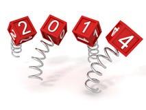 Nieuwe jaar rode 2014 kubussen op de metaal spiraalvormige lentes royalty-vrije illustratie