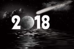 Nieuwe jaar 2018 volle maan en komeet Stock Foto's