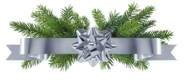 Nieuwe jaar zilveren decoratie met boog Stock Foto's