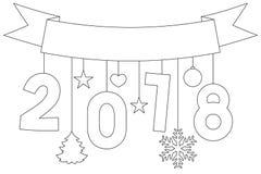 Nieuwe jaar zwart-witte affiche, lint, sneeuwvlokken en sterren Stock Afbeelding