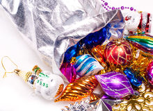 Nieuwe jaarachtergrond met kleurrijke decoratie Stock Foto