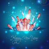 Nieuwe jaarachtergrond met vuurwerk in zak Royalty-vrije Stock Foto