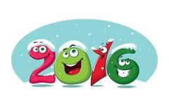 Nieuwe jaarbanner 2016 met grappige cijfers in de sneeuw Royalty-vrije Illustratie