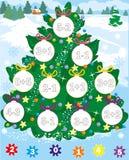 Nieuwe jaarboom Kerstmisspel telling en kleur Eenvoudig niveau Stock Afbeelding