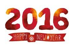 2016 Nieuwe jaarkaart, achtergrond Rode Veelhoekencijfers Royalty-vrije Stock Foto's
