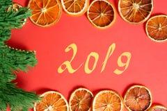 Nieuwe jaarkaart met de droge sinaasappelen, groene Kerstmisboom en met de hand geschreven stock afbeelding
