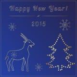 Nieuwe jaarkaart met gouden geit Stock Fotografie