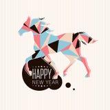 Nieuwe jaarkaart met paard Royalty-vrije Stock Afbeeldingen