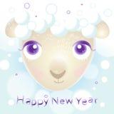 Nieuwe jaarkaart met schapen Stock Foto's