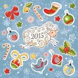 Nieuwe jaarkaart met schapen en decoratieelementen Stock Fotografie