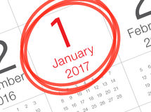 Nieuwe jaarkalender op agenda Stock Foto