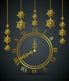 Nieuwe jaarklok met vlokken die decoratie hangen vector illustratie