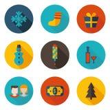 Nieuwe jaarpictogrammen in vectorformaat Stock Afbeelding