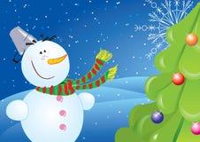 Nieuwe jaarprentbriefkaar met sneeuwman Stock Afbeelding