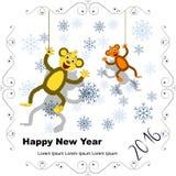 Nieuwe jaarprentbriefkaar met twee apen en sneeuwvlokken in openwork Fr Stock Afbeeldingen