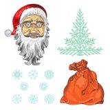 Nieuwe jaarreeks Kerstmiskleurenelementen Royalty-vrije Stock Foto's