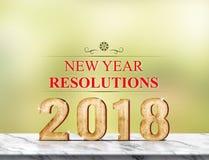 Nieuwe jaarresolutie 2018 het 3d teruggeven over marmeren lijst bij groen Stock Fotografie