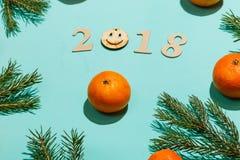 Nieuwe jaarsamenstelling 2018 Het Kerstmiskader met mandarijnen, spar vertakt zich, en houten van letters voorziende 2018 met gli Stock Afbeeldingen
