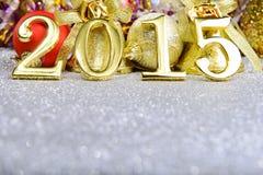 Nieuwe jaarsamenstelling met gouden nummer 2015 jaar Royalty-vrije Stock Foto's
