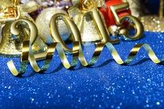 Nieuwe jaarsamenstelling met gouden nummer 2015 jaar Royalty-vrije Stock Afbeeldingen