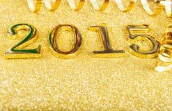 Nieuwe jaarsamenstelling met gouden nummer 2015 jaar Royalty-vrije Stock Afbeelding