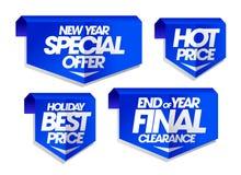 Nieuwe jaarspeciale aanbieding, vakantie beste prijs, eind van jaar definitieve ontruiming, hete de verkooptekens van de prijsvak Royalty-vrije Stock Foto's