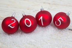 2015 Nieuwe jaartekst op Kerstmissnuisterijen Royalty-vrije Stock Afbeelding