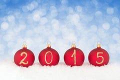 2015 Nieuwe jaartekst op Kerstmissnuisterijen Royalty-vrije Stock Foto's