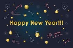 Nieuwe jaaruitnodiging Gouden tekst over achtergrond met sneeuwvlokken, giften, suikergoedriet, klokken, sterren, ar Nieuwjaar en Royalty-vrije Stock Afbeelding