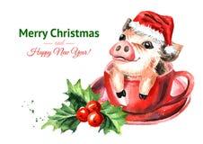 Nieuwe jaaruitnodiging Mini Pig met Kerstmis GLB in de theekop als Symbool Waterverfhand getrokken die illustratie, op witte bac  vector illustratie