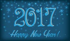 Nieuwe jaaruitnodiging Sneeuwvlokken, 2017 Stock Foto